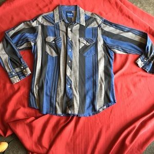 Wrangler western shirt pearl snaps large